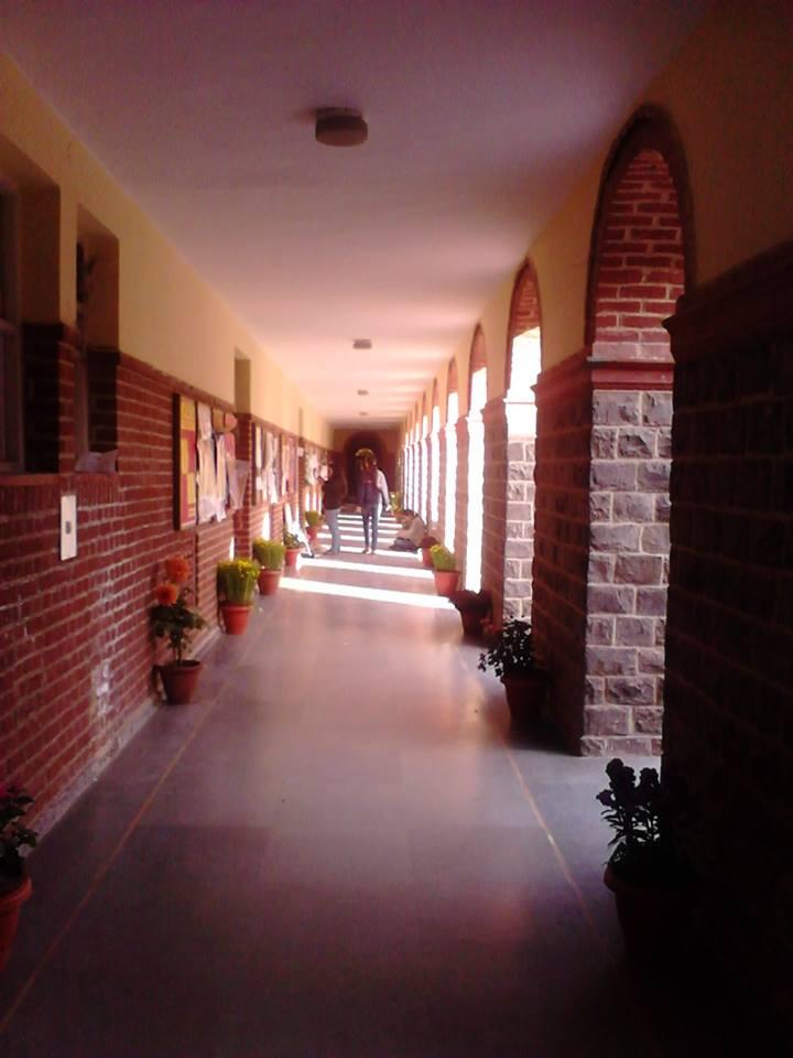 お花があしらわれた大学の廊下
